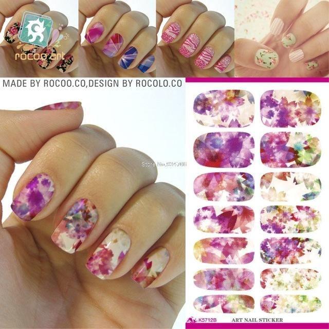 RU2PCS K4 Water Transfer Nails Art Sticker Rose Flowers Snowflake ...