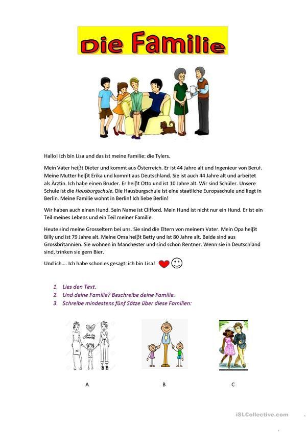 Die Familie   Worksheets