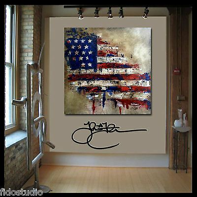 Pop art abstract vintage American Flag painting patriot Canvas print Fidostudio | eBay
