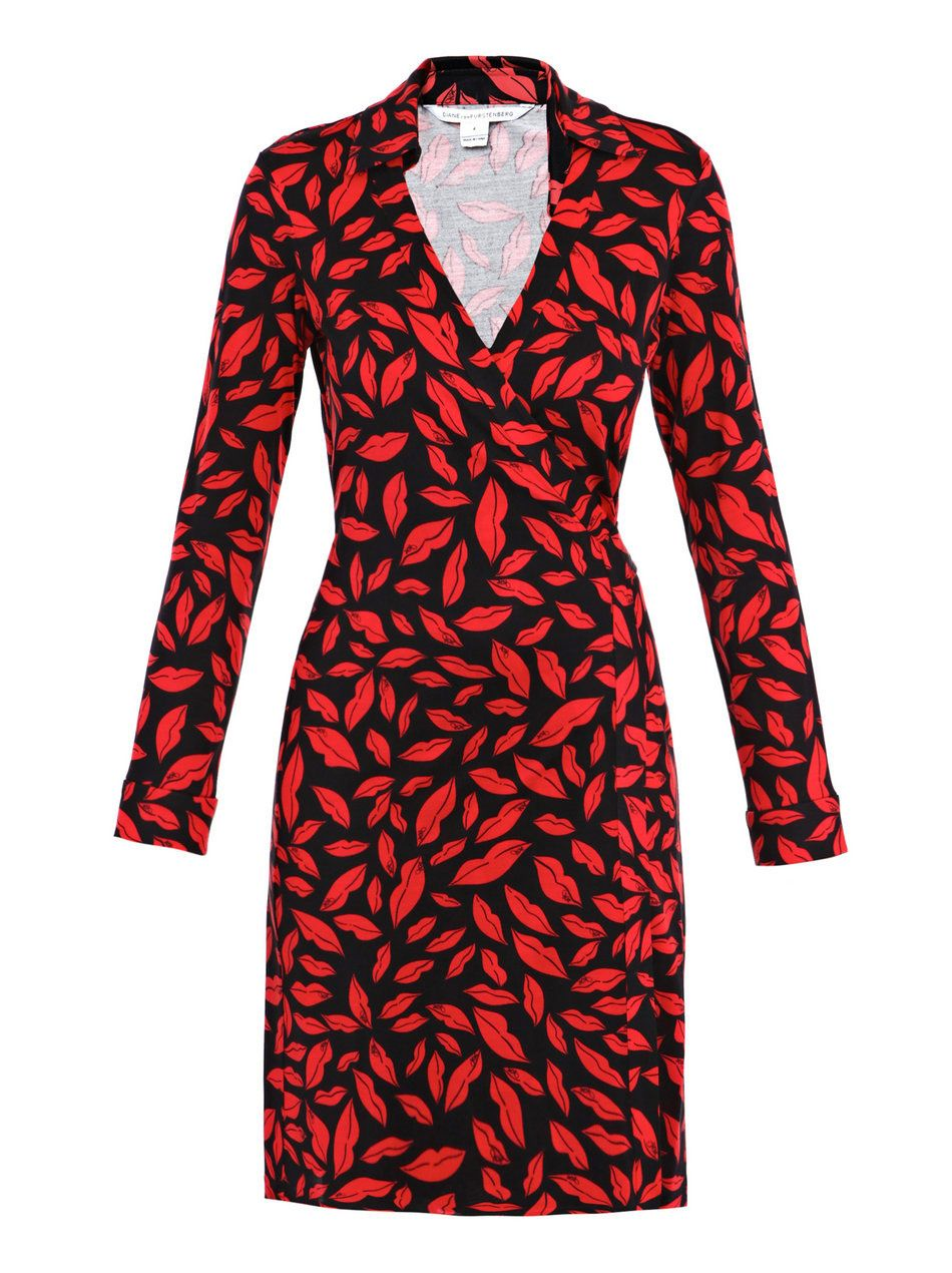 f14582ee2b155 DVF Jeanne red lip print wrap dress | Everyday style | Dresses, Wrap ...