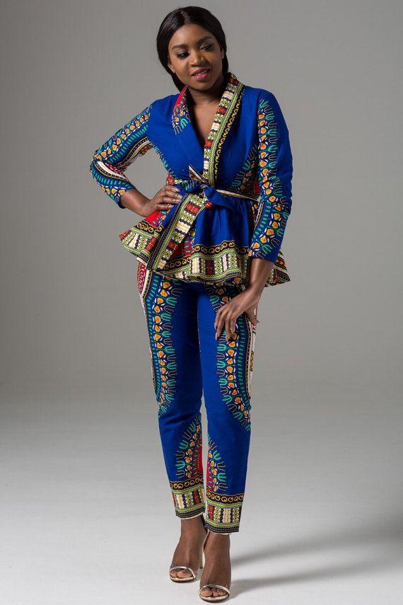 Dashki Fabric African Fashion Ankara Kitenge African: Estrella Kimono Blue Dashiki Pant Set. Ankara