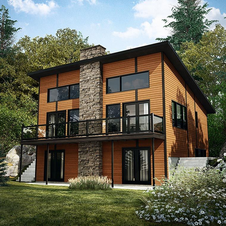 Contemporary Modern House Plan 76404 Elevation Modern Lake House Modern Style House Plans Contemporary House Plans