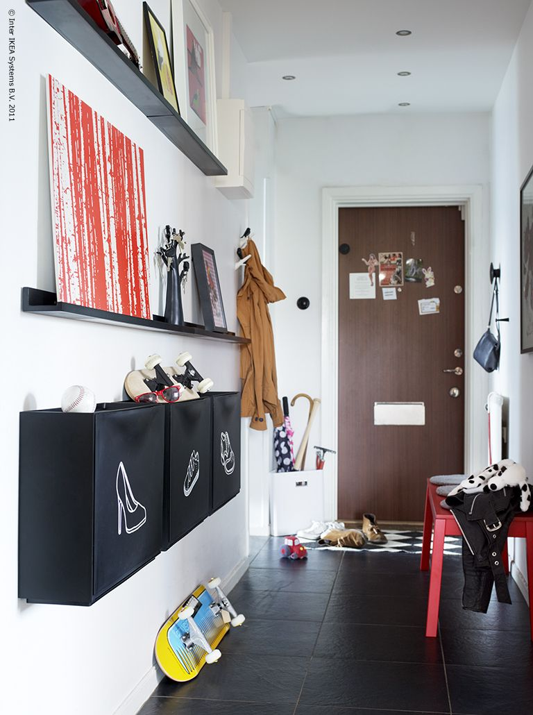 Storage for narrow hallway  For shoes and stuff  Decorating  Pinterest  Hall Entry stairs