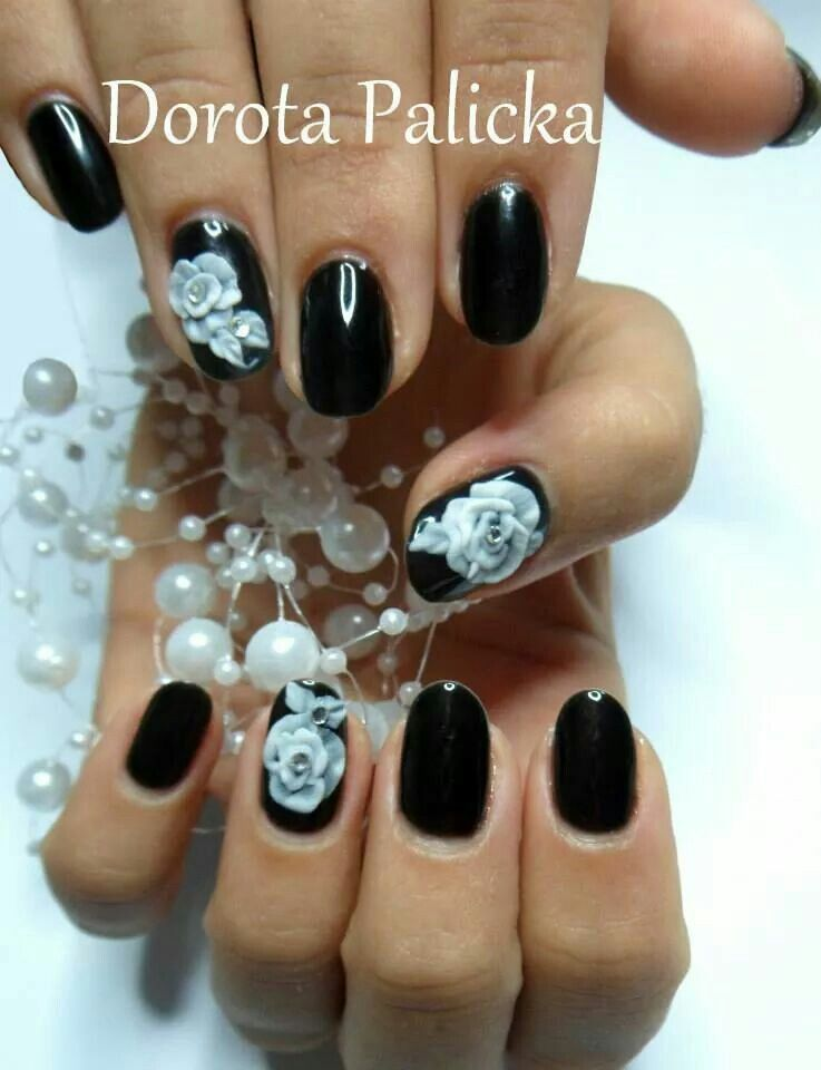 Acrylic 3d Roses Nail Art On Black Soak Off Gel Polish And Natural