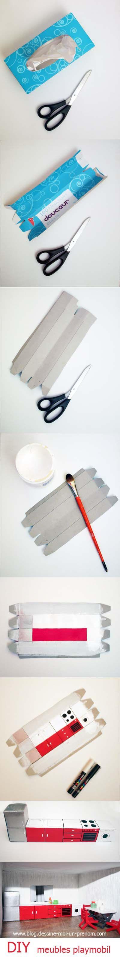 Tutoriel fabriquer meubles cuisine playmobil recup maison playmobil meubles maison de - Fabrication maison en carton ...