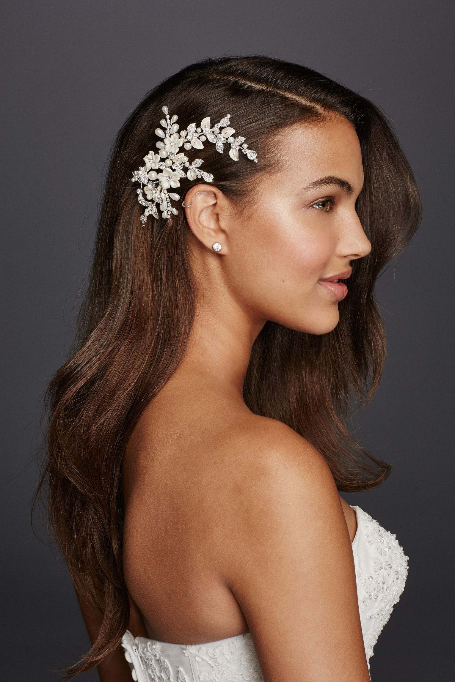 Spruce up classic soft waves with pearls, rhinestones, and
