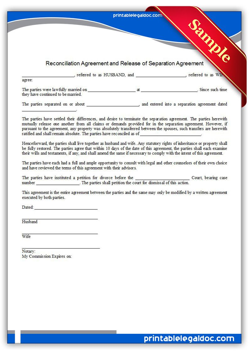 Free Printable Reconciliation Agreement Legal Forms  Free Legal