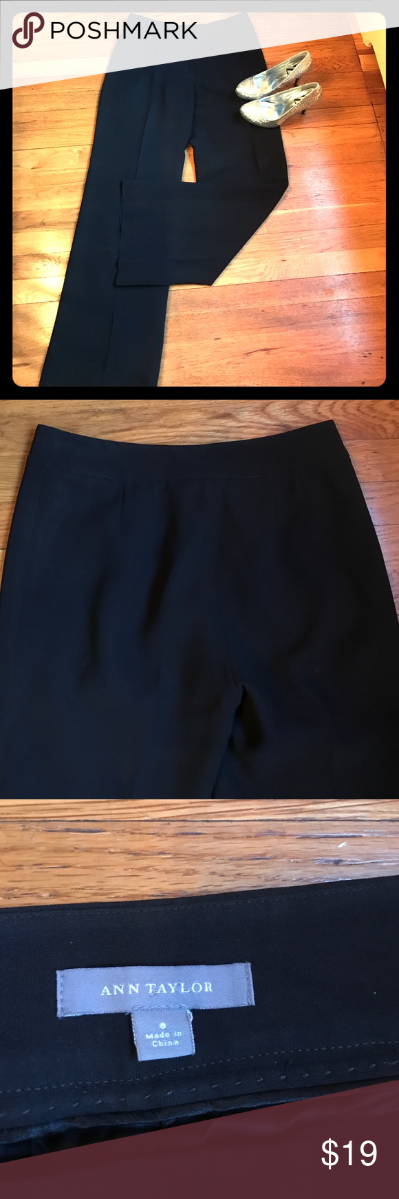 Ann Taylor Black Work Trousers Very stylish and chic, perfect for work! Has pleats in the back, see picture 2. Excellent condition. Ann Taylor Pants Trousers