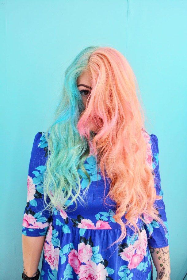 Pink Turquoise Split Hair Emily Gossip Blog Split Hair Half And Half Hair Half Colored Hair