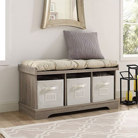 Wood Driftwood 42-inch Storage Bench with Totes and Cushion Entry