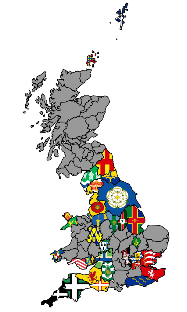Map Of England Showing Yorkshire.County Flags Map Cool Places County Flags Homes England London Map