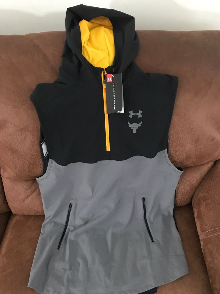 89ba9d124718f under armour the rock project sleeveless hoodie workout NWT size XL men