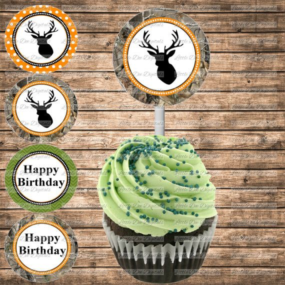 DIY Printable Camo And Deer Themed Happy Birthday Cupcake Toppers