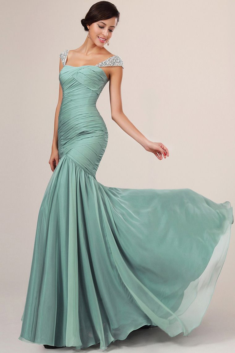 Shop long prom dresses straps ruffled bodice beaded hot selling