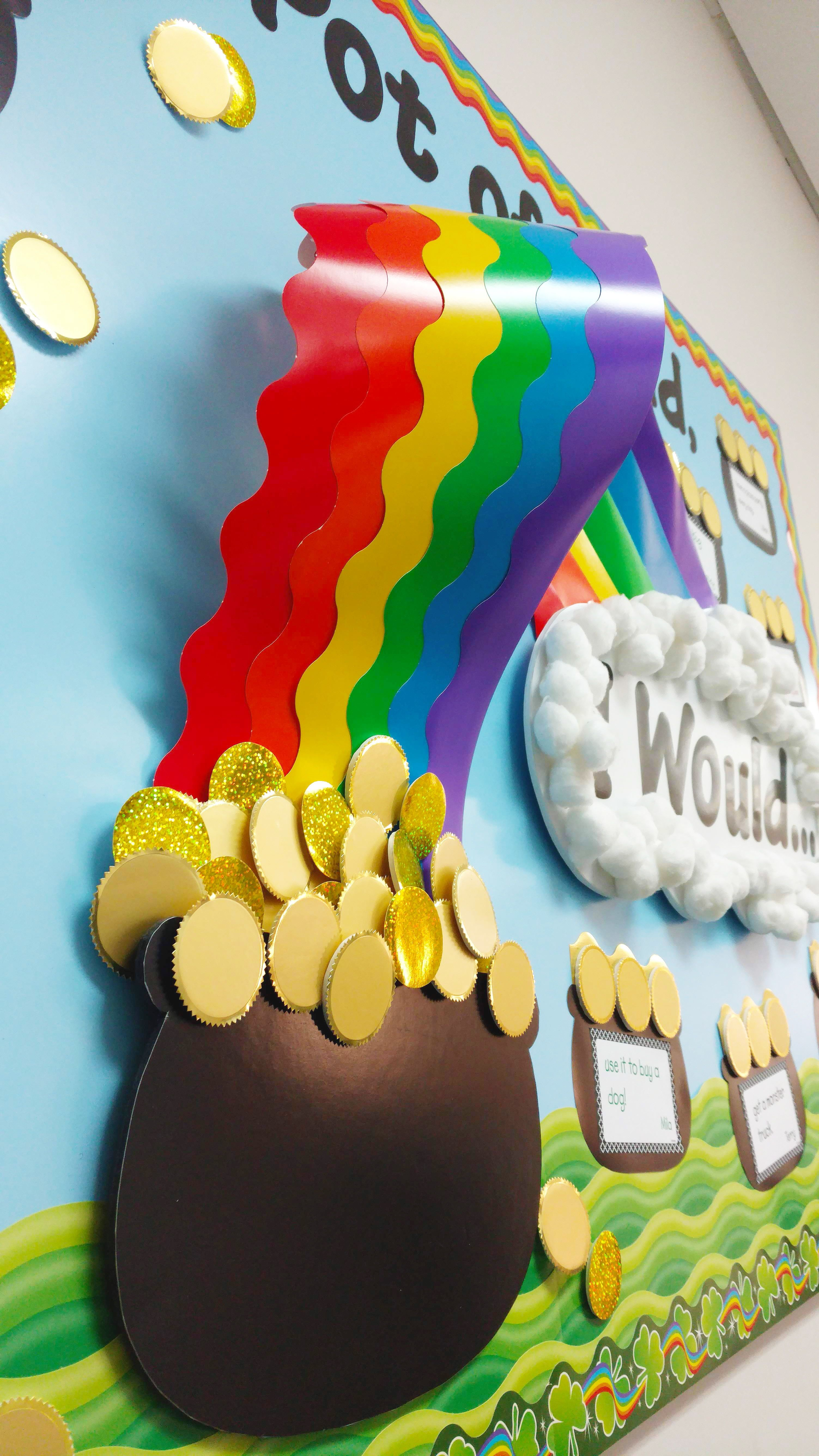 Pot of Gold & Rainbow Bulletin Board DIY Birthday