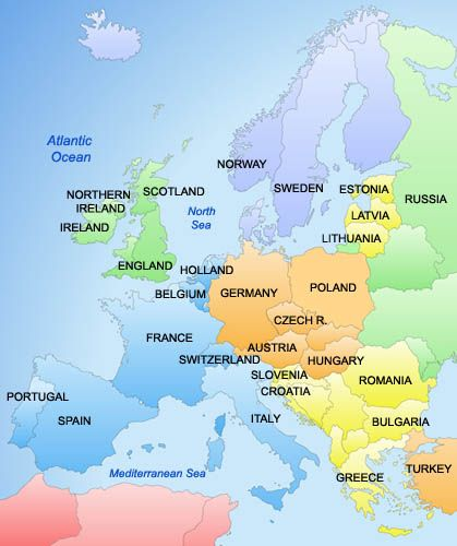 Nice Map Of Europe Countries (419×500)