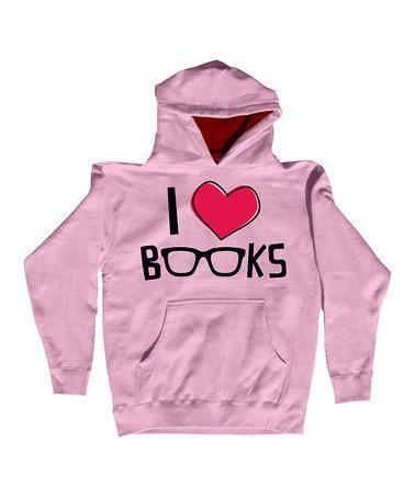 Look at this #zulilyfind! Pink 'I Love Books' Pullover Hoodie - Toddler & Girls #zulilyfinds