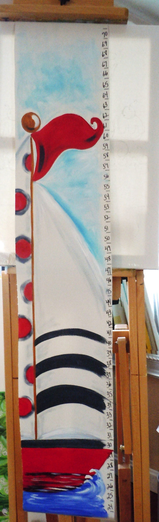 Nautical nursery growth chart personalized hand by AdoraArt, $48.00