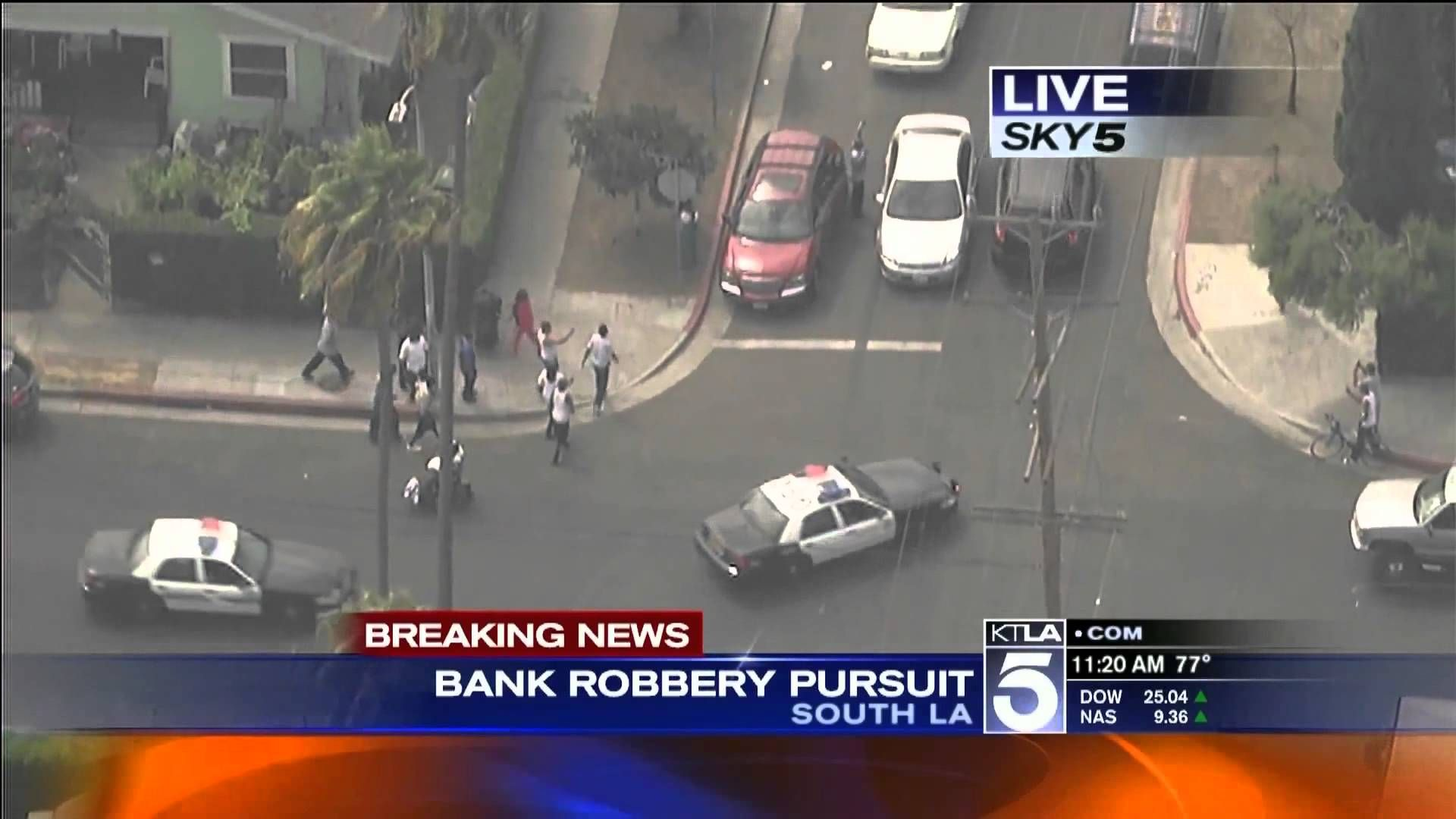 California police chase armed bank robbers in stolen volvo