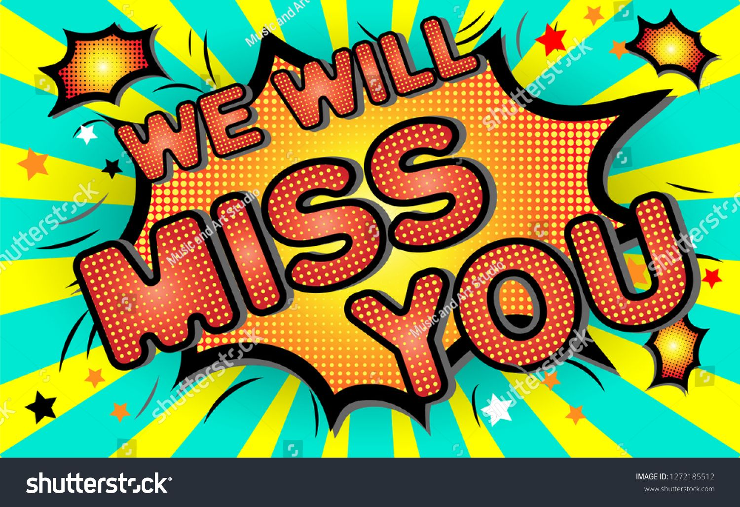 Farewell Party Template We Will Miss You Text Design Pop Art Comic Style Colorful Background For T Shirt Pop Art Comic Inspirational Artwork Banner Printing