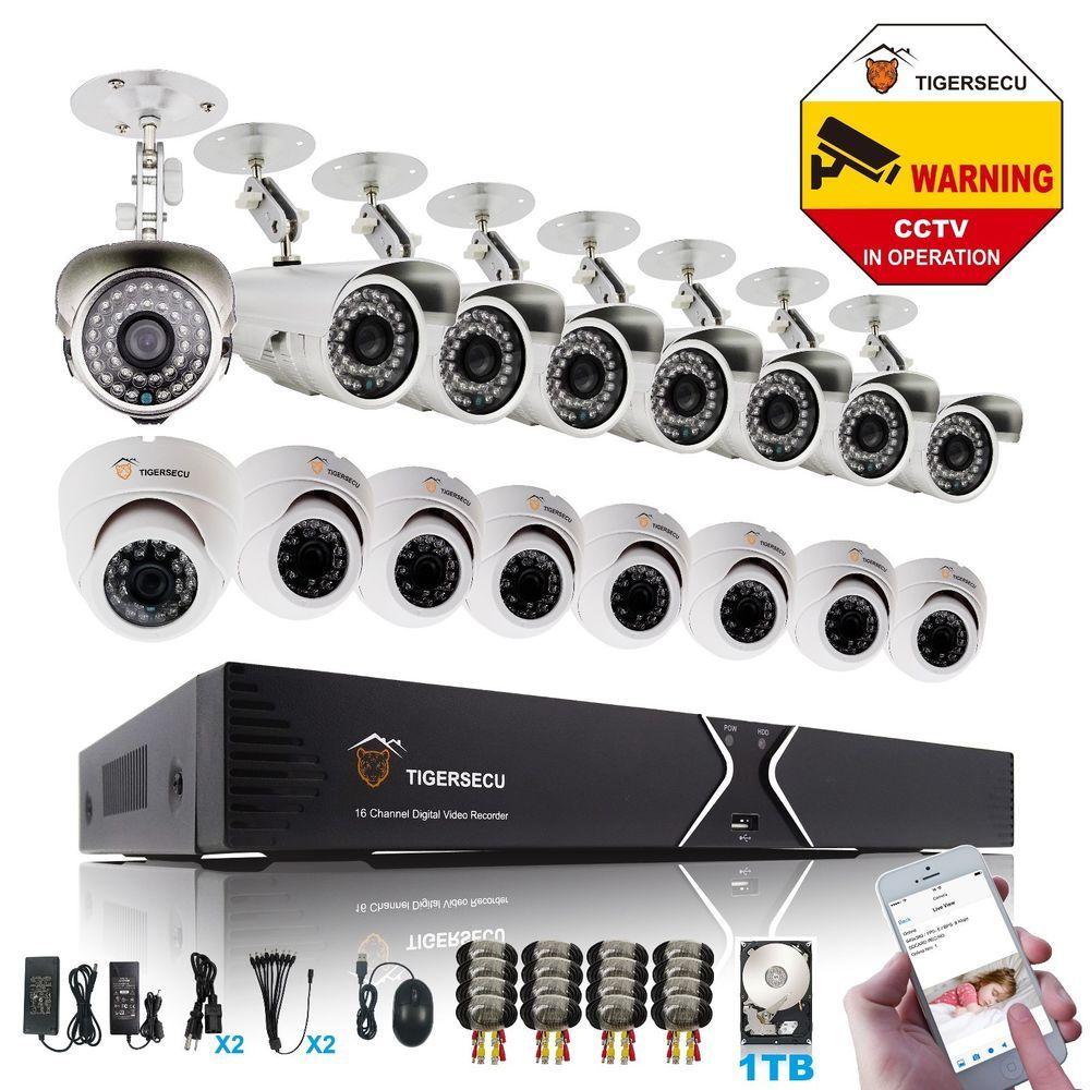 16CH DVR 700TVL Indoor Outdoor Camera 1TB HDD CCTV Security Video EO System #TigerSecu