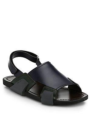 Sandals for Men On Sale, Black, Rubber, 2017, 5 Prada