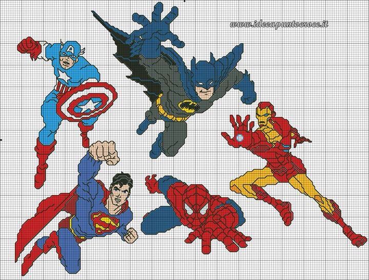 Súper Hero cross stitch 16-17