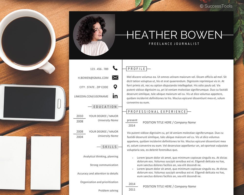 Resume Template Professional, Resume Template Instant Download, Creative resume template word,Resume with Photo Full Package by SuccessTools on Etsy