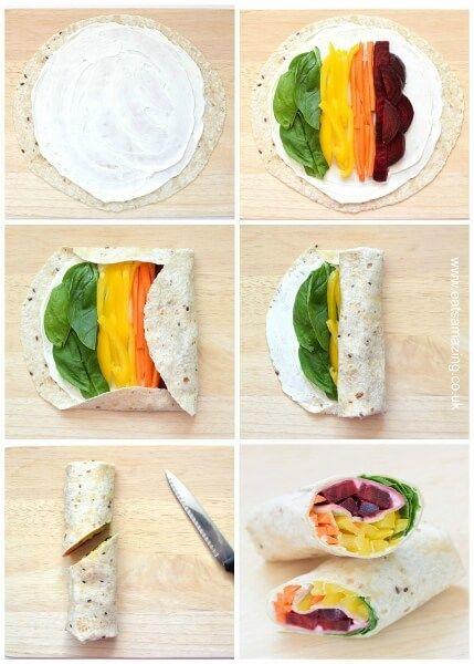 Step by step rainbow tortilla wrap recipe - healthy fun ...