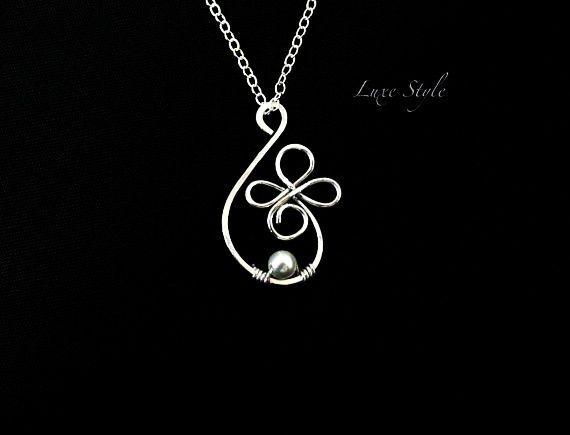 Contemporary Wire Jewelry Designs | ... Wire wrapped Pearl White Contemporary Unique design Handmade Jewelry