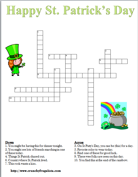 image regarding St Patrick Day Puzzles Printable Free known as St Patricks Working day Crossword Puzzle IRISH\\ SCOTTISH \\SAINT