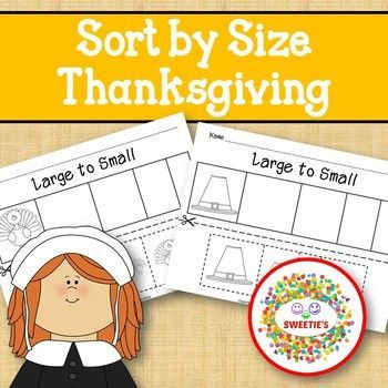 Sort by Size Activity Sheets Color, Cut, and Paste