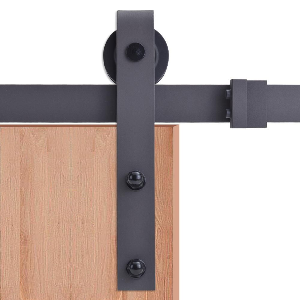 Calhome 72 In Black Classic Bent Strap Barn Style Sliding Door Track And Hardware Set Barn Style Sliding Doors Barn Door Hardware Sliding Door Hardware