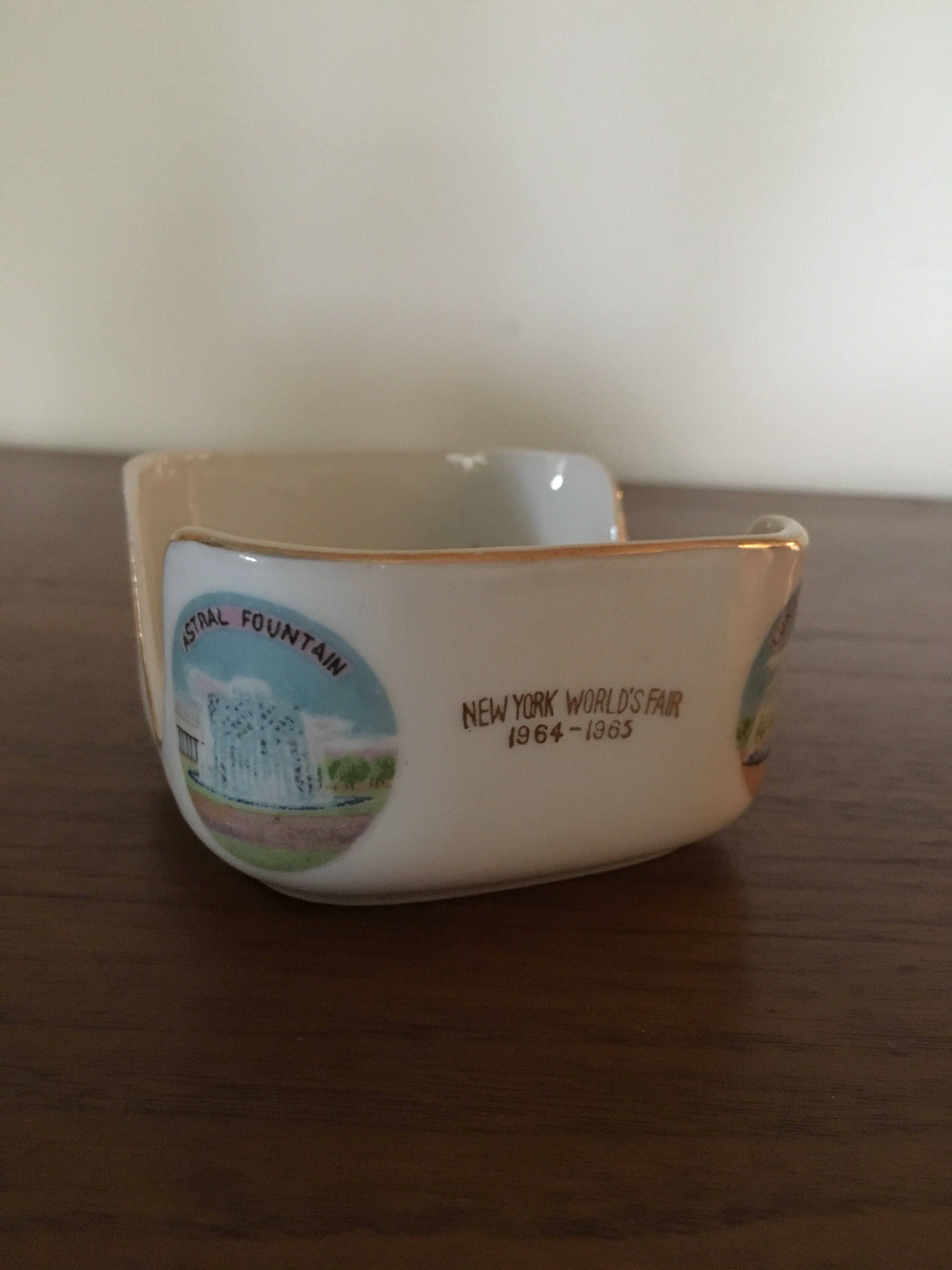 1964 World\'s Fair Ashtray Caddy Coaster Holder Trinket Dish Square ...