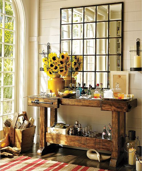 A Beautiful Windowpane Mirror Echoes The Panes From The