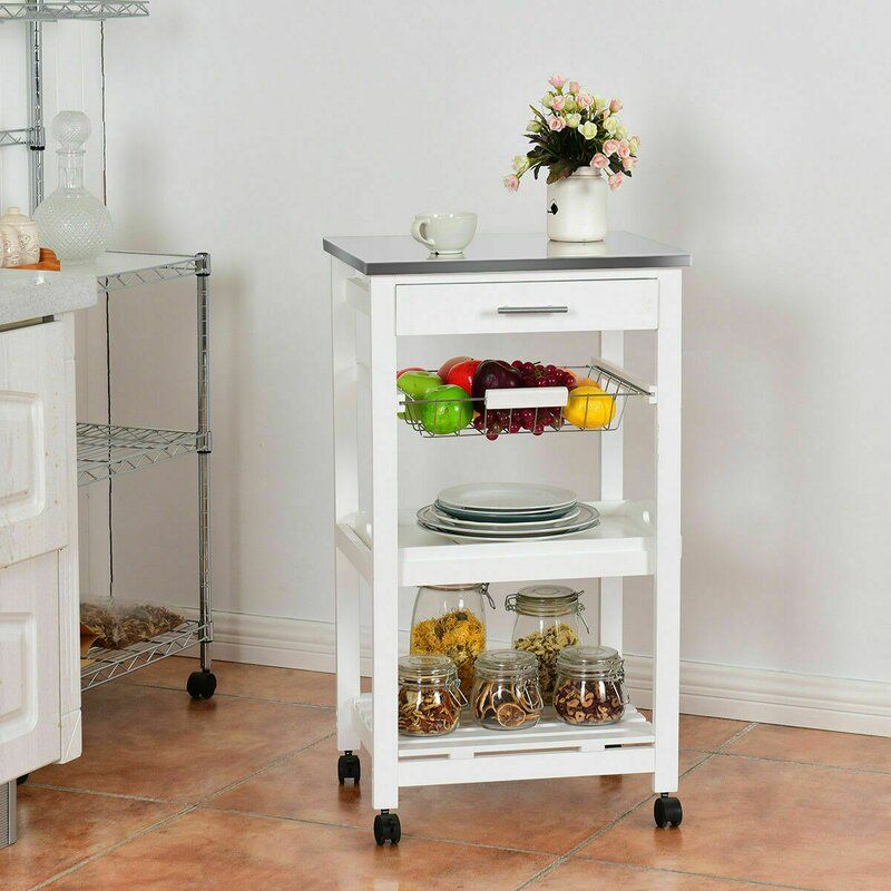 Wifrith Rolling Stainless Steel Kitchen Cart In 2020 Kitchen Roll Kitchen Trolley Kitchen Cart