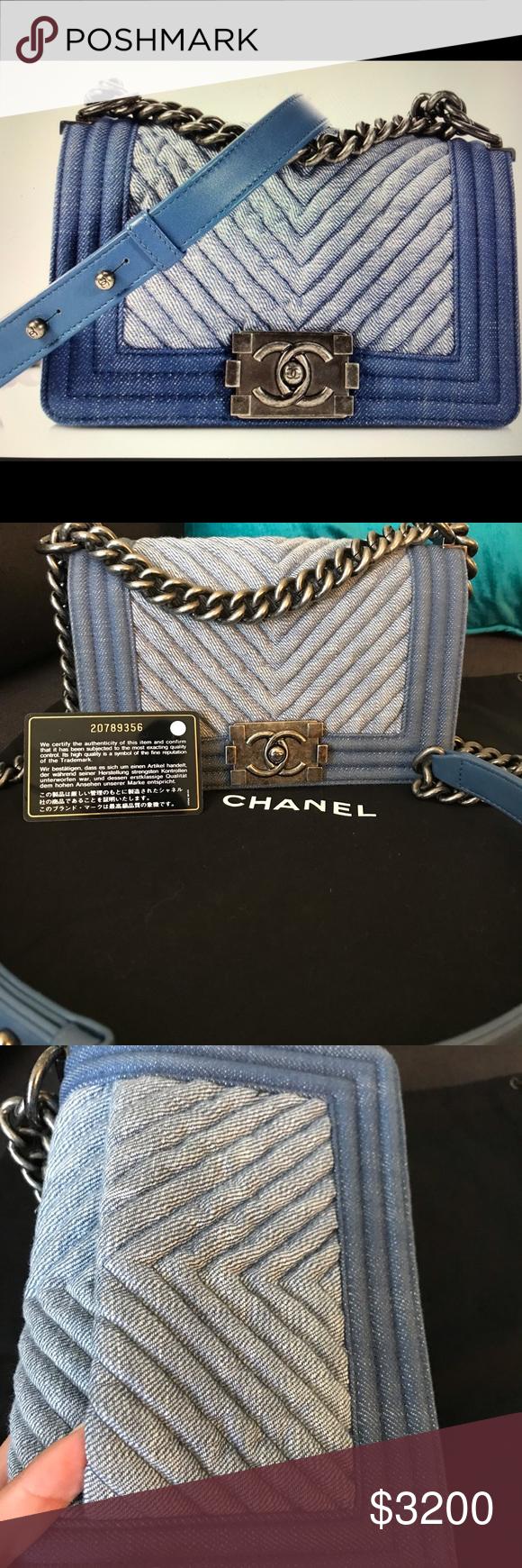669cf261dd44e3 Authentic Chanel denim boy bag Chanel size small two-tone denim chevron Boy  Bag.