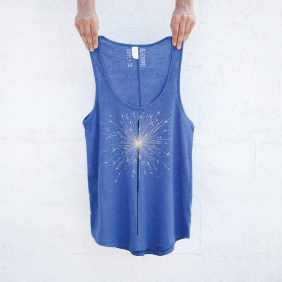 Sparkler Tank Top for Women, Yoga Workout Shirt, Women's Graphic Tank, Blue Tank Tops, Festival Fashion, Closeout Sale 7