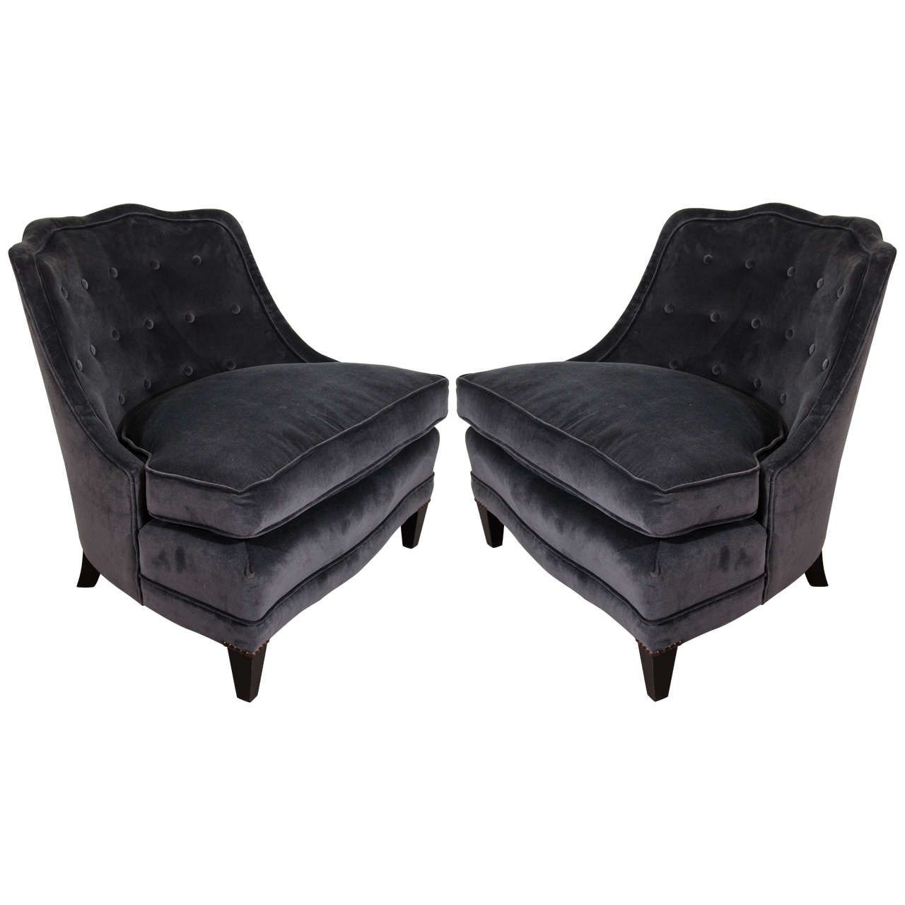 Midcentury Pair of Barrel Back Henredon Chairs in Charcoal Velvet | From a unique collection of  sc 1 st  Pinterest & Midcentury Pair of Barrel Back Henredon Chairs in Charcoal Velvet ...
