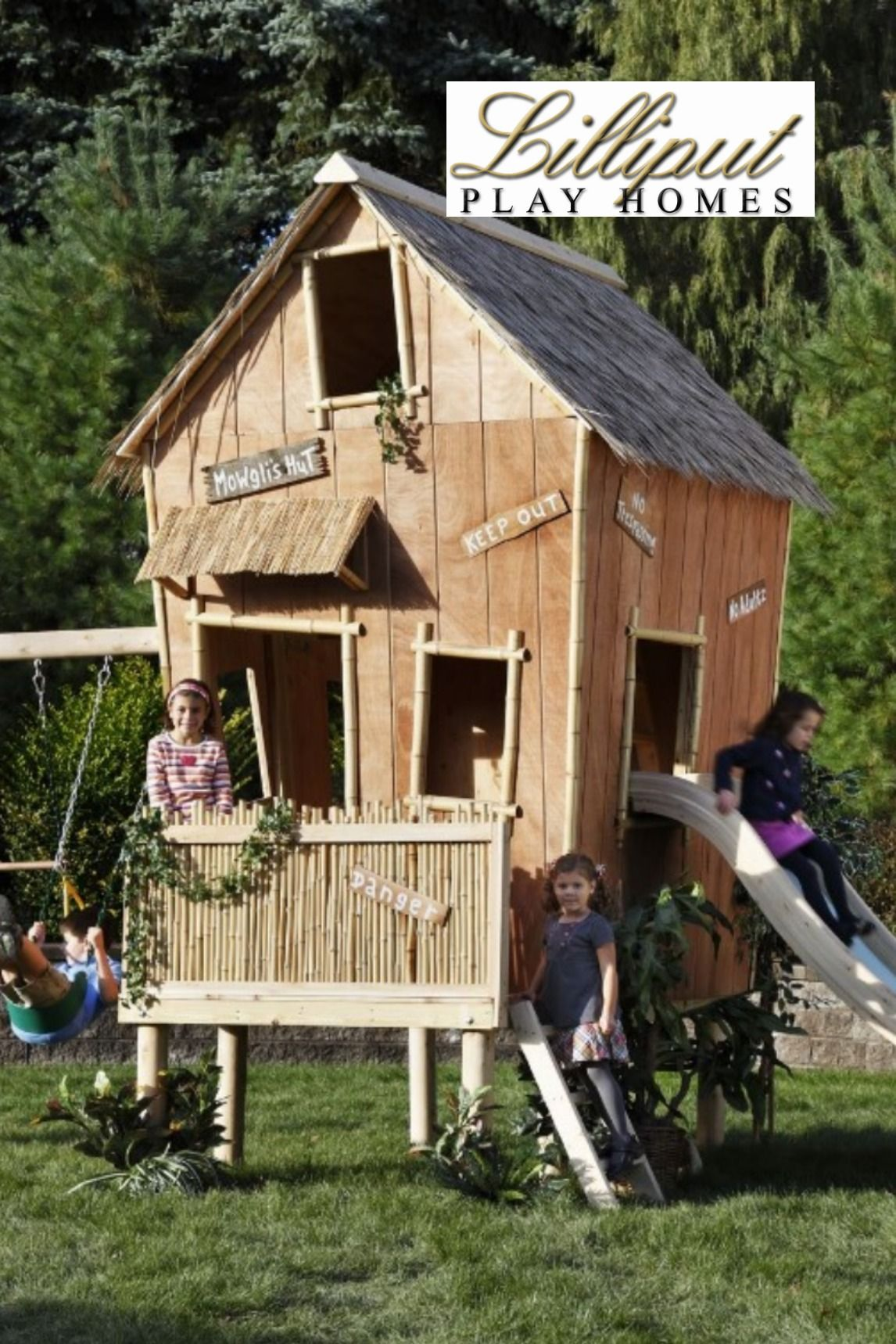 Play House With Swings And Slide In 2020 Play Houses Swing And Slide Luxury Playhouses