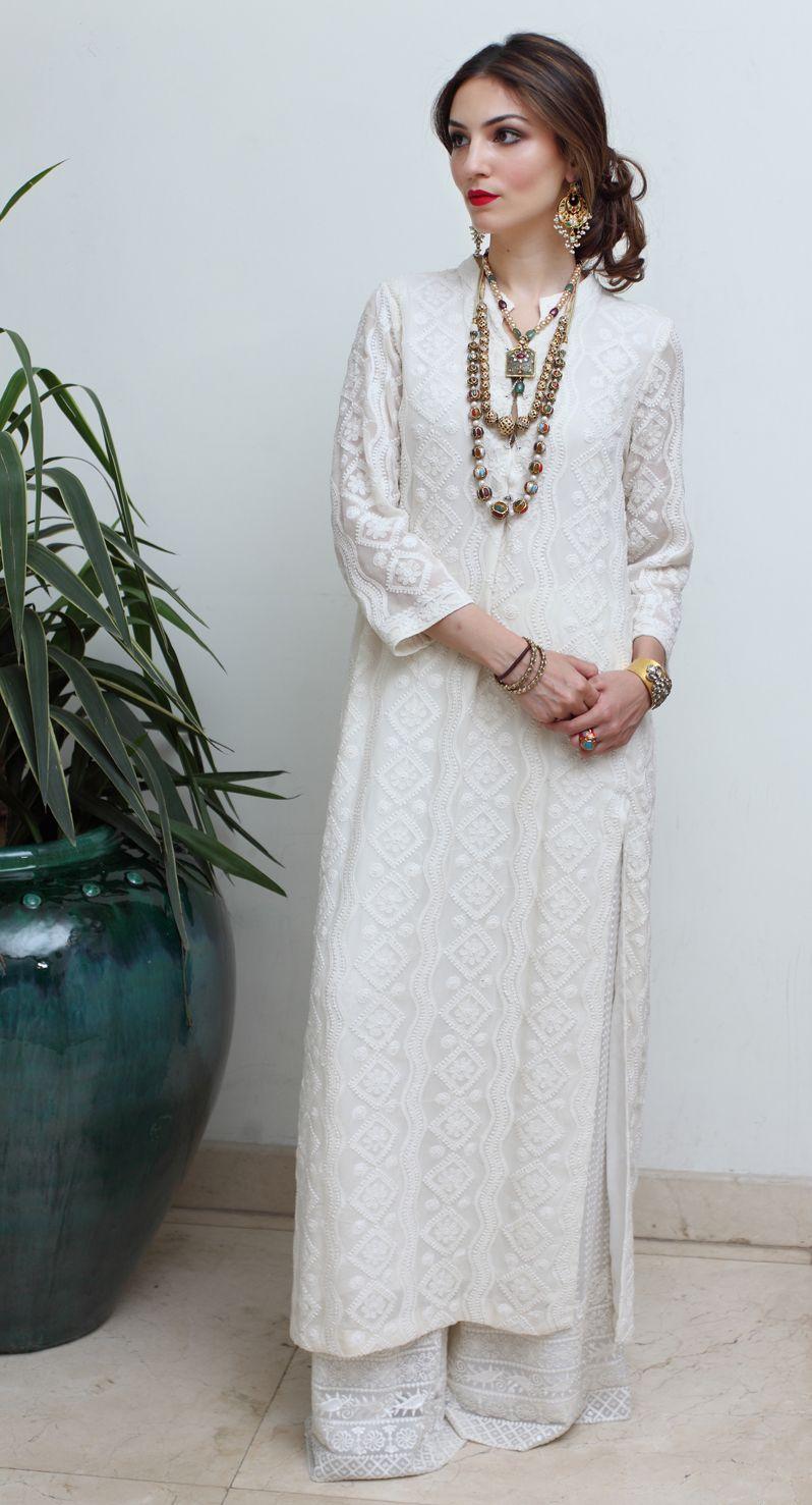 White chikankaari. With rep lips ! … | Dress to taste | India…