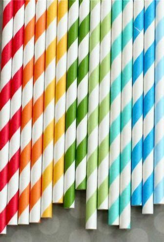 Rainbow Striped Chevron Paper Straws (Set of 25)