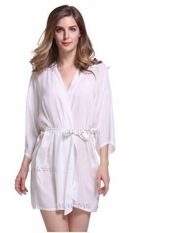 New Style Women s Cotton Sleepwear Summer Lounge Short Nightgown Kimono Bathrobe  Sexy Brides Wedding Robes Dressing Gown 010708 09d923bff