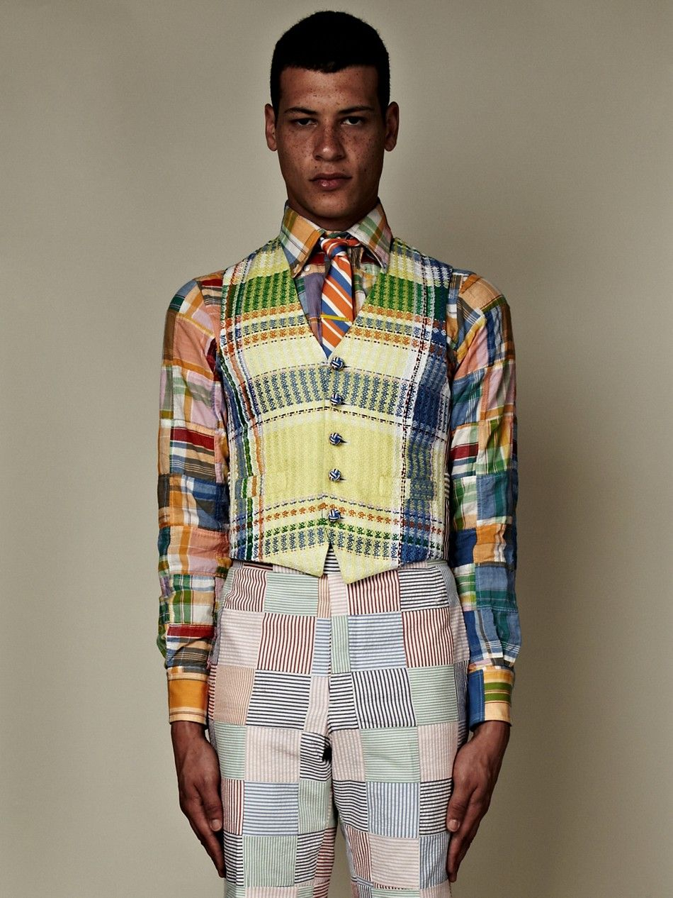 Thom Browne SS13 Men's Classic Five Button Vest in madras