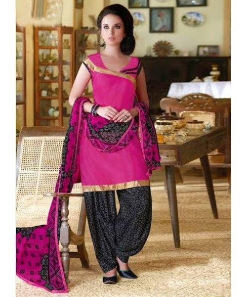 Maroon Polished Fashionable Cotton Panjabi Patiala Suit