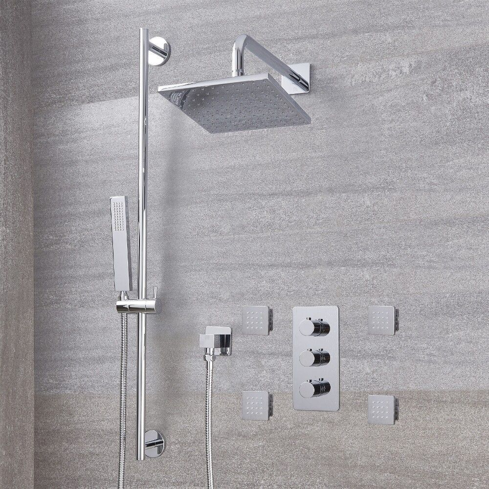 Body Spray Shower Heads.Arcadia Thermostatic Chrome Shower System With 8 Shower