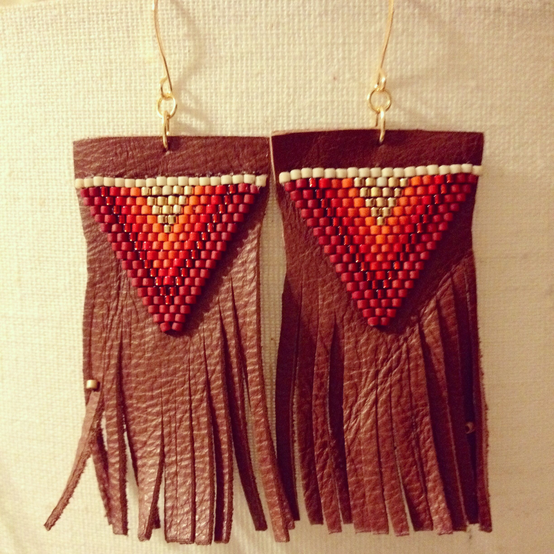 "Beaded leather fringe earrings  1/4"" x 2 1/2"". Www.springpaperjewelry.com. Boho glam, beachy, natural."