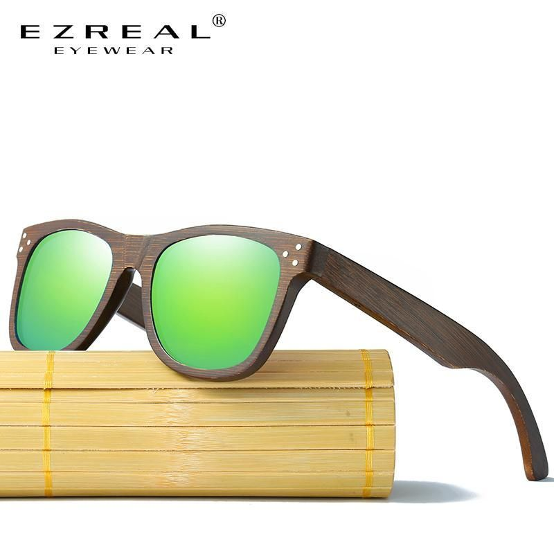 ac85ce0076 EZREAL Polarized real wooden sunglasses with made of bamboo with wood case
