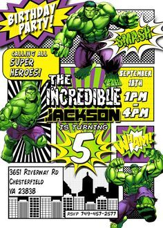 Incredible Hulk Invitation By LaughingWillowDesign Birthday Parties Superhero Party Avengers
