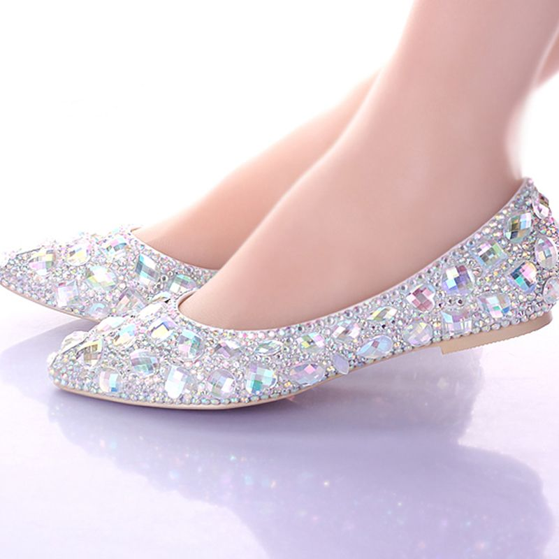 Ladies Flat Heels Sandal Pointed Toe AB Color Wedding Shoes Silver ...